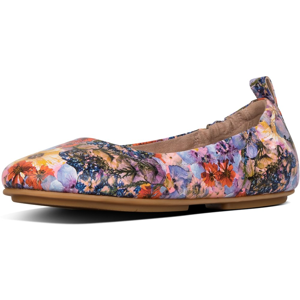 Image of FitFlop Australia OYSTER PINK ALLEGRO™ FLOWERCRUSH LEATHER BALLERINAS OYSTER PINK