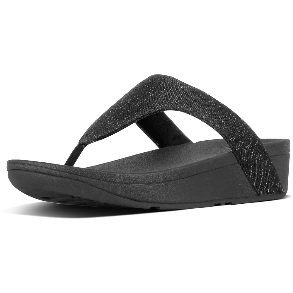 Image of FitFlop Australia BLACK LOTTIE™ GLITZY TOE-THONG BLACK