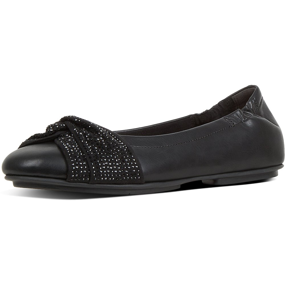 Image of FitFlop Australia BLACK TWISS™ CRYSTAL BALLERINAS BLACK