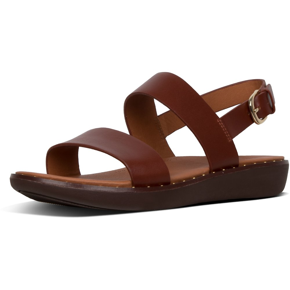 Image of FitFlop Australia COGNAC BARRA™ LEATHER BACK-STRAP SANDALS COGNAC