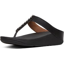 Image of FitFlop Australia BLACK FINO™ TREASURE TOE-THONGS BLACK