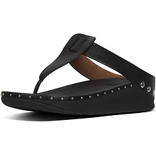 Image of FitFlop Australia BLACK ISABELLE™ STUD LEATHER TOE-THONGS BLACK