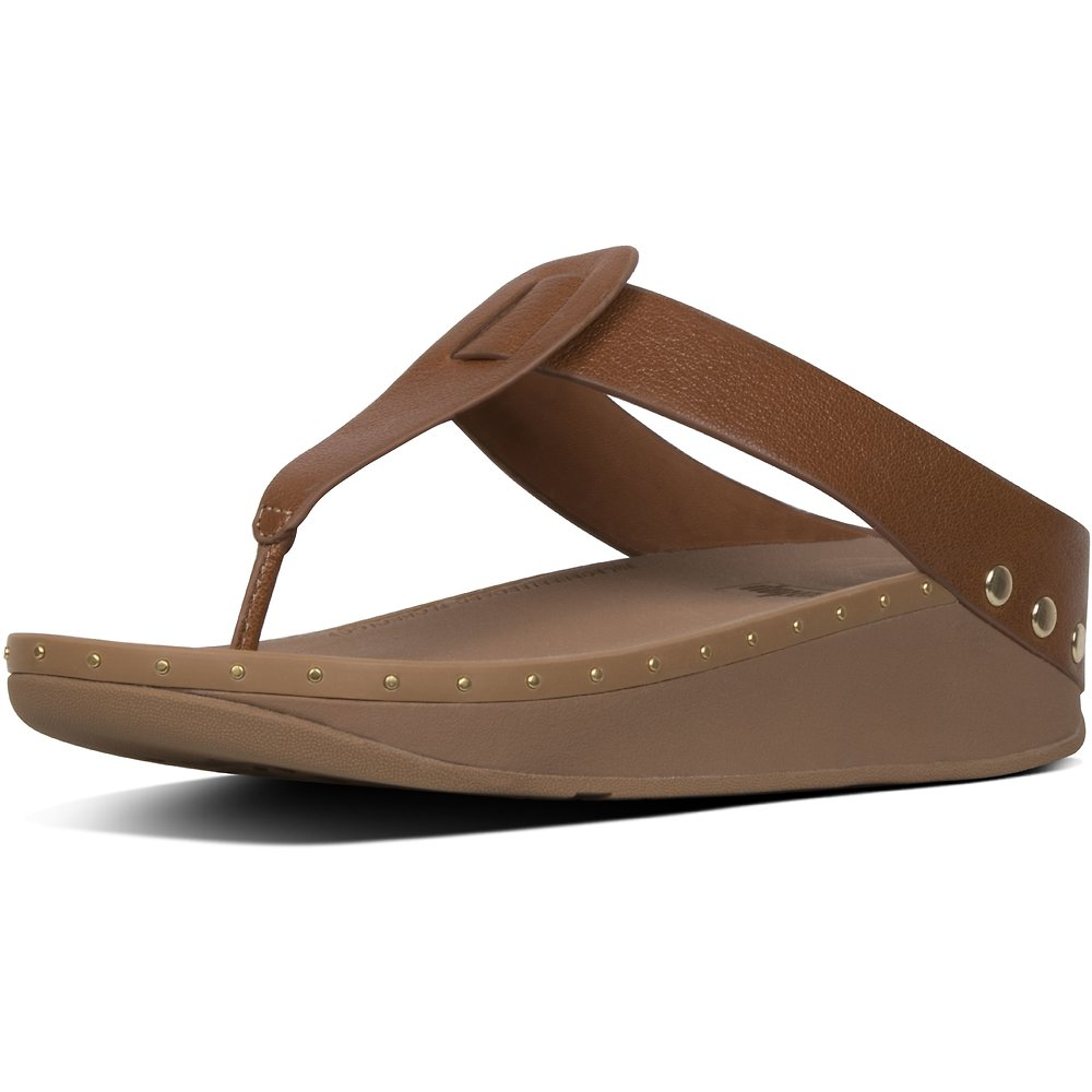 Image of FitFlop Australia LIGHT TAN ISABELLE™ STUD LEATHER TOE-THONGS LIGHT TAN