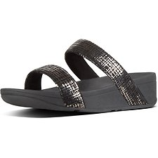 Image of FitFlop Australia BLACK LOTTIE™ CHAIN PRINT SUEDE SLIDES BLACK