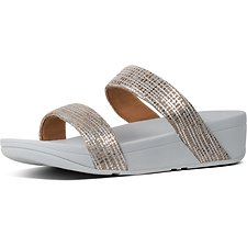 Image of FitFlop Australia METALLIC SILVER LOTTIE™ CHAIN PRINT SUEDE SLIDES SILVER