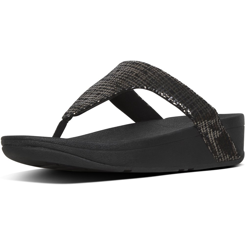 Image of FitFlop Australia BLACK LOTTIE™ CHAIN PRINT SUEDE TOE-THONGS BLACK