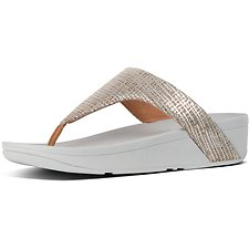Image of FitFlop Australia METALLIC SILVER LOTTIE™ CHAIN PRINT SUEDE TOE-THONGS SILVER