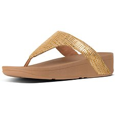 Image of FitFlop Australia BAKED YELLOW LOTTIE™ CHAIN PRINT SUEDE TOE-THONGS BAKED YELLOW