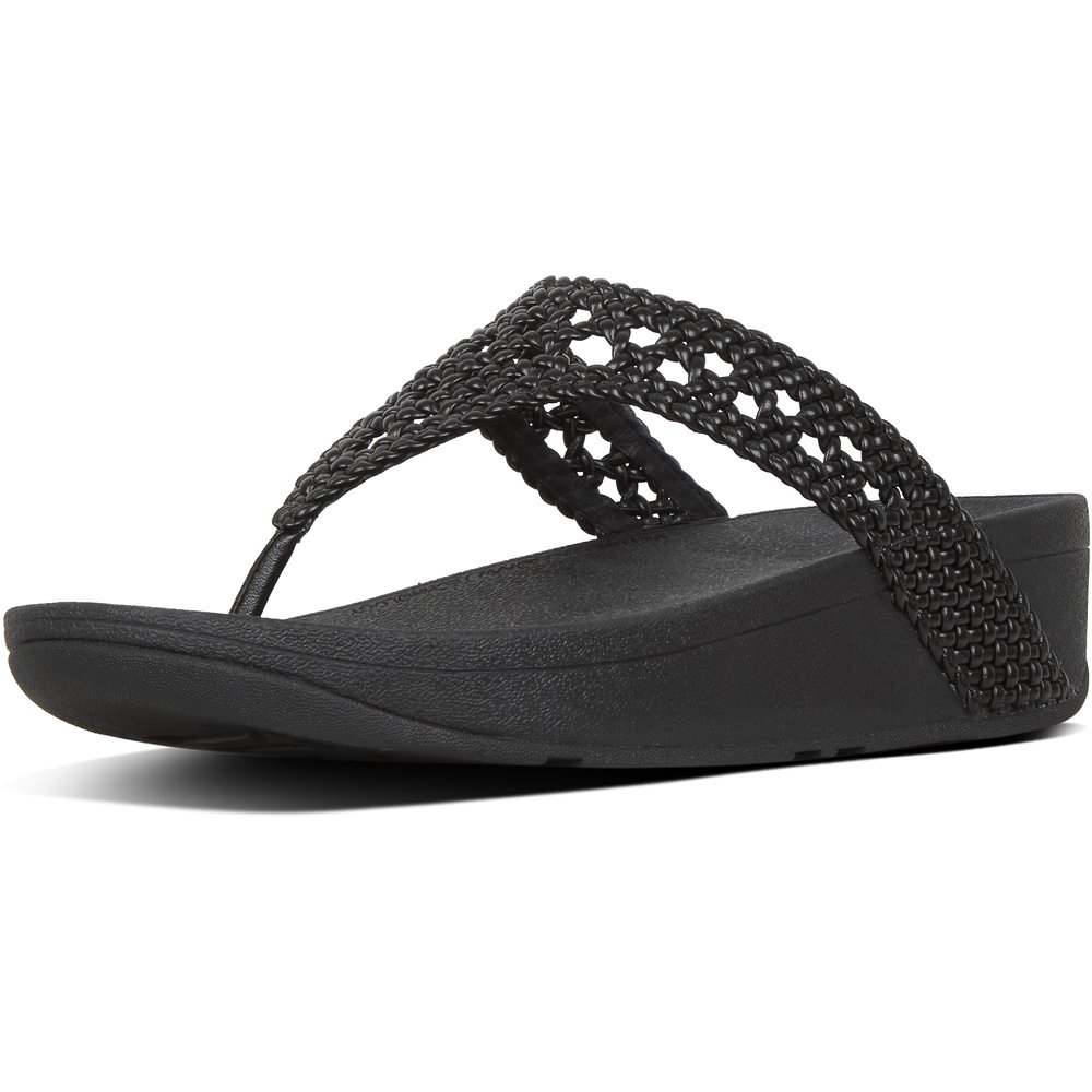 Image of FitFlop Australia BLACK LOTTIE™ WICKER WEAVE TOE-THONGS BLACK