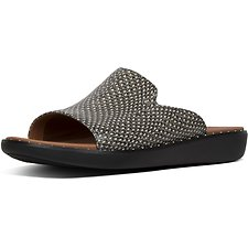 Image of FitFlop Australia NATURAL SNAKE SAFFI™ DOTTED-SNAKE LEATHER SLIDES NATURAL SNAKE