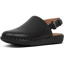 Image of FitFlop Australia BLACK SAGE™ LEATHER BACK-STRAP MULES BLACK