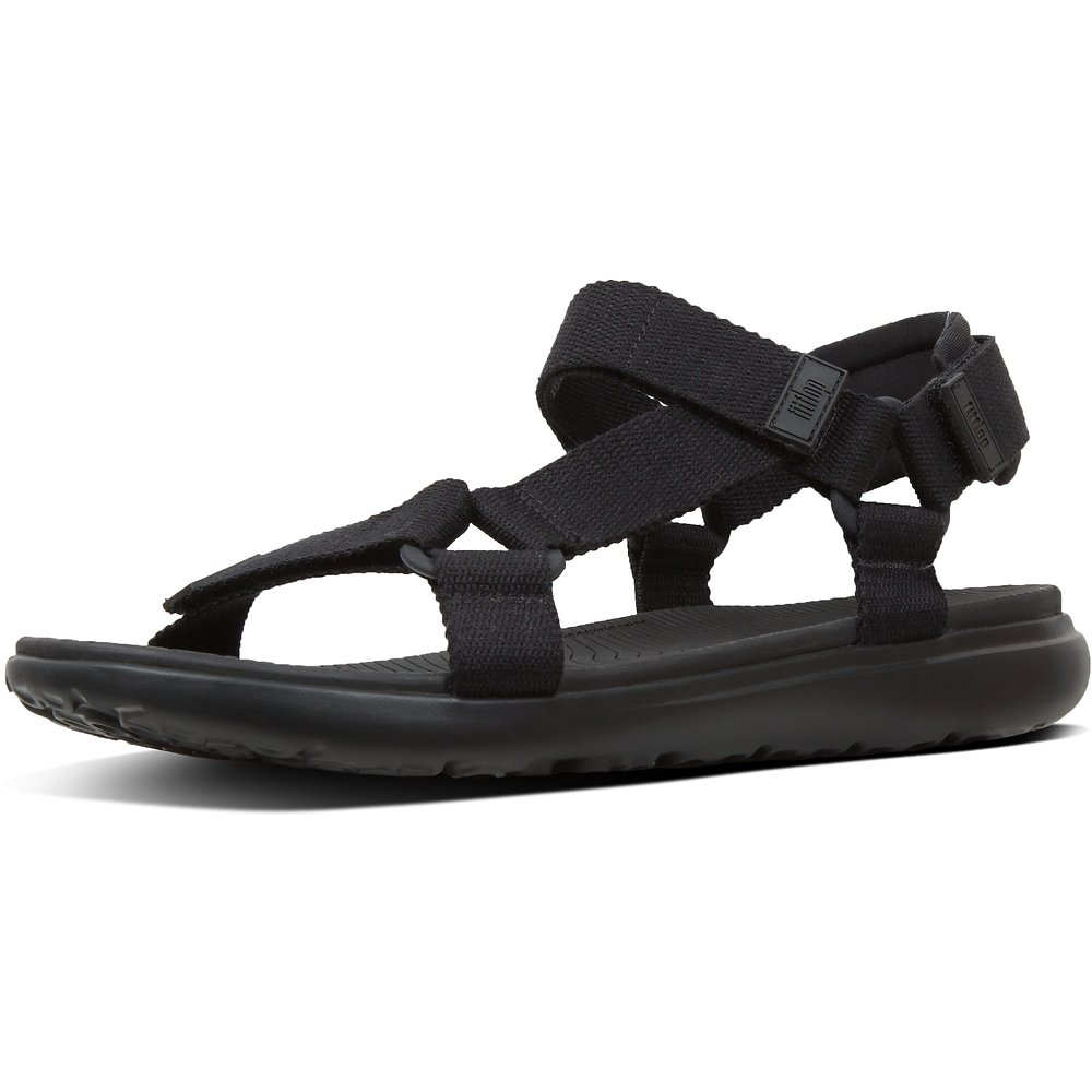 Image of FitFlop Australia BLACK MEN'S TRAILSTAR™ WEBBING BACK-STRAP SANDALS BLACK