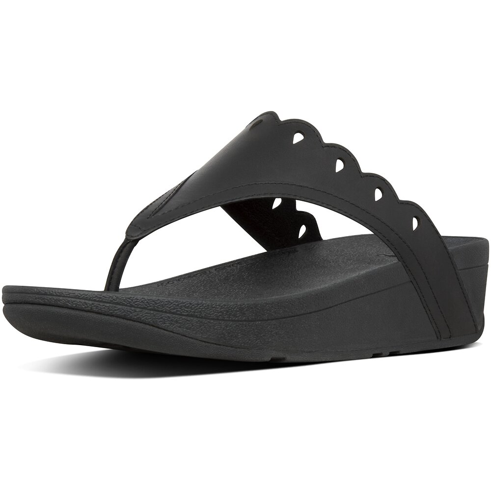 Image of FitFlop Australia ALL BLACK ESTHER FLORET™ TOE-THONGS ALL BLACK