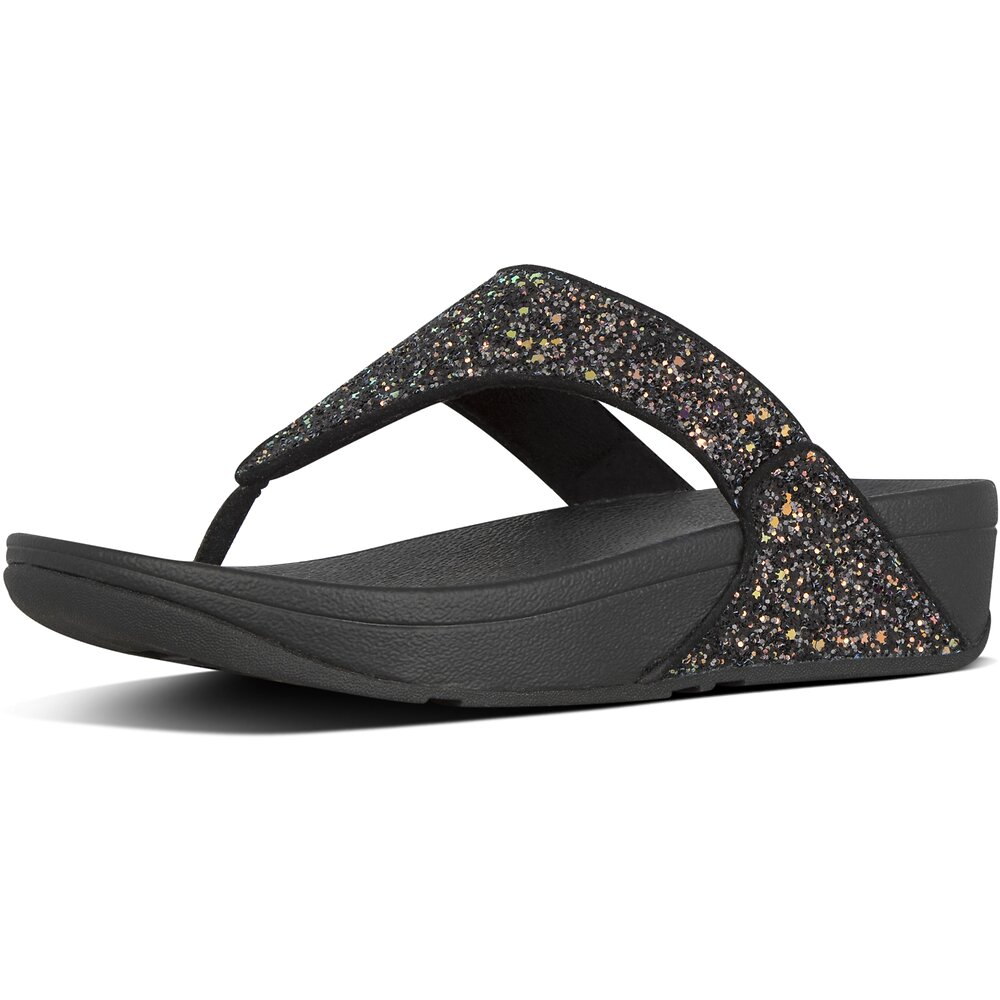 Image of FitFlop Australia BLACK MIX LULU™ GLITTER TOE-THONGS BLACK MIX