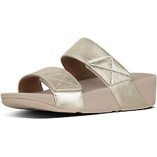 Image of FitFlop Australia PLATINO MINA™ METALLIC LEATHER SLIDES PLATINO