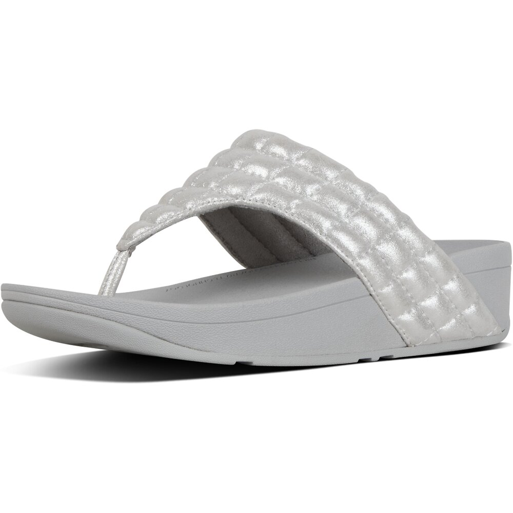 Image of FitFlop Australia METALLIC SILVER LULU™ PADDED SHIMMY SDE TOE-POST SILVER