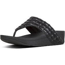 Image of FitFlop Australia ALL BLACK LULU™ PADDED SHIMMY SDE TOE-POST ALL BLACK