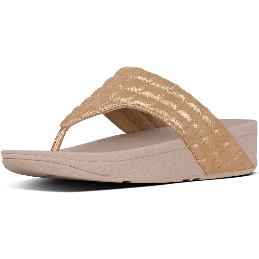 Image of FitFlop Australia ROSE GOLD LULU™ PADDED SHIMMY SDE TOE POST ROSE GOLD