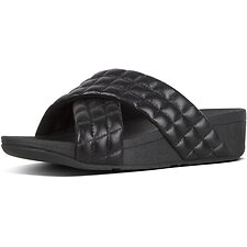 Image of FitFlop Australia ALL BLACK LULU™ PADDED SHIMMY SDE SLIDE ALL BLACK