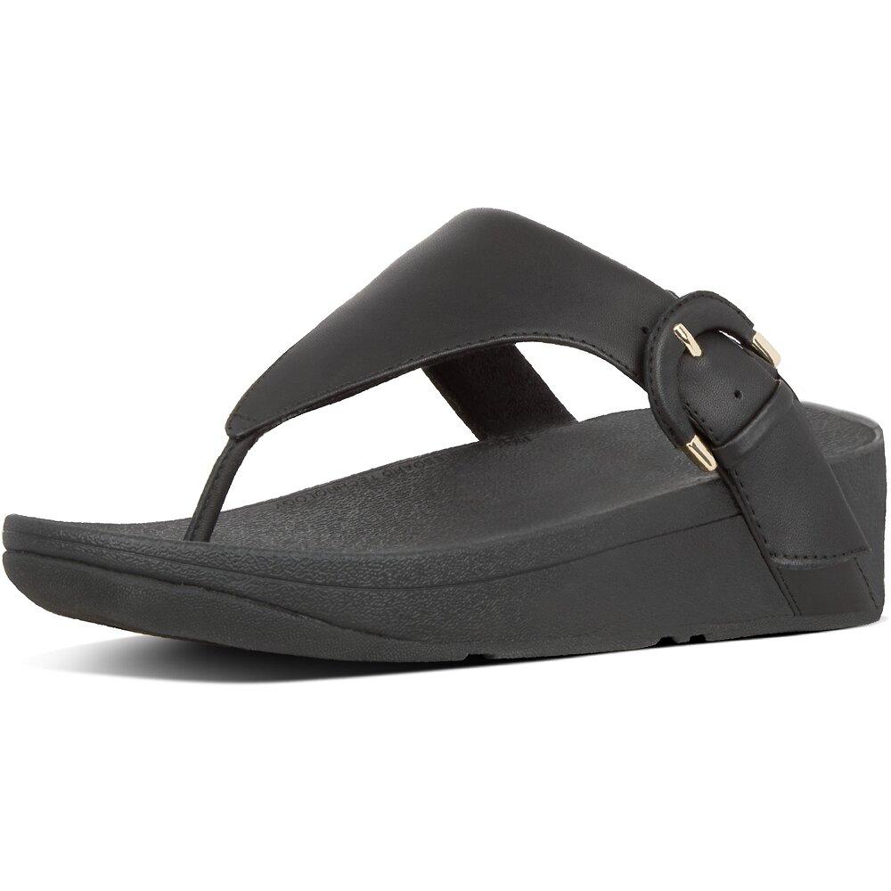 Image of FitFlop Australia BLACK LOTTIE™  BUCKLE TOE-THONGS BLACK