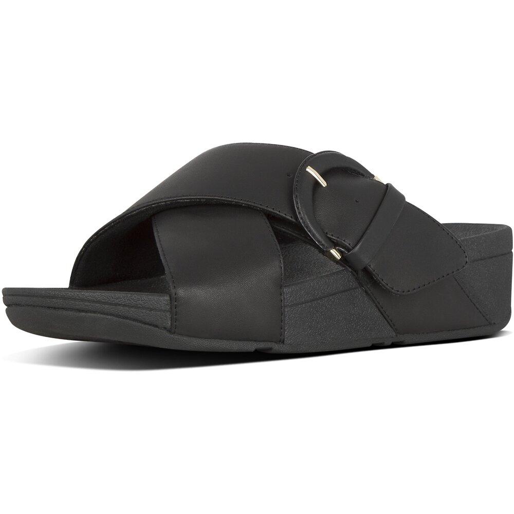 Image of FitFlop Australia BLACK LULU™  BUCKLE SLIDES BLACK