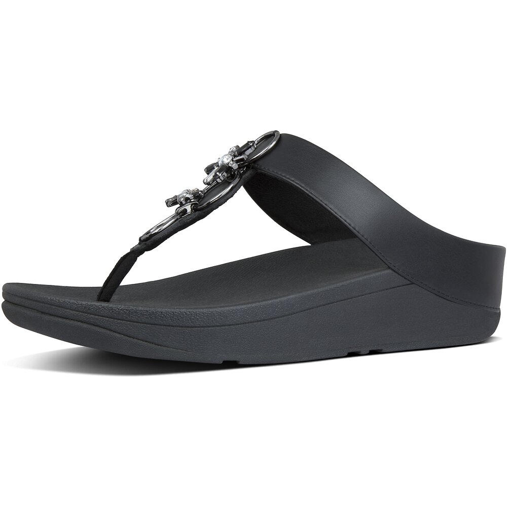 Image of FitFlop Australia ALL BLACK FINO™ BLOSSOM TOE-THONGS ALL BLACK