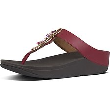 Image of FitFlop Australia DARK RED FINO™ BLOSSOM TOE-THONGS DARK RED