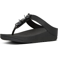 Image of FitFlop Australia ALL BLACK FINO™ MARBLE GEM TOE-THONGS ALL BLACK