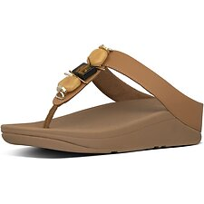 Image of FitFlop Australia HAZELNUT FINO™ MARBLE GEM TOE-THONGS HAZELNUT