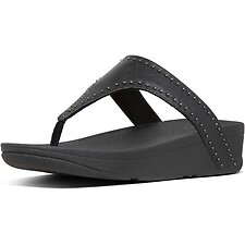 Image of FitFlop Australia ALL BLACK LOTTIE™ MICROSTUD TOE-THONGS ALL BLACK