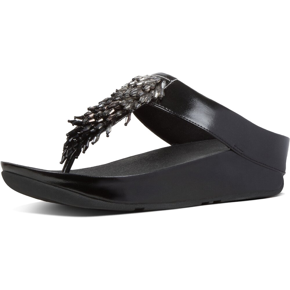 Image of FitFlop Australia ALL BLACK RUMBA™ OMBRE TOE-THONGS ALL BLACK