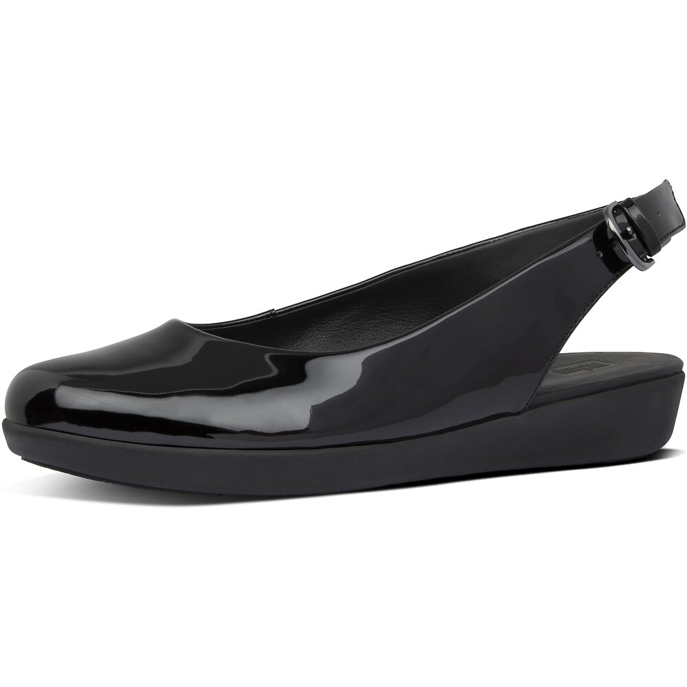 Image of FitFlop Australia ALL BLACK SARITA™ PATENT SLING BACK ALL BLK